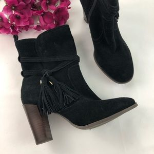 Tommy Hilfiger Black Suede Varick Tassel Heel Boot